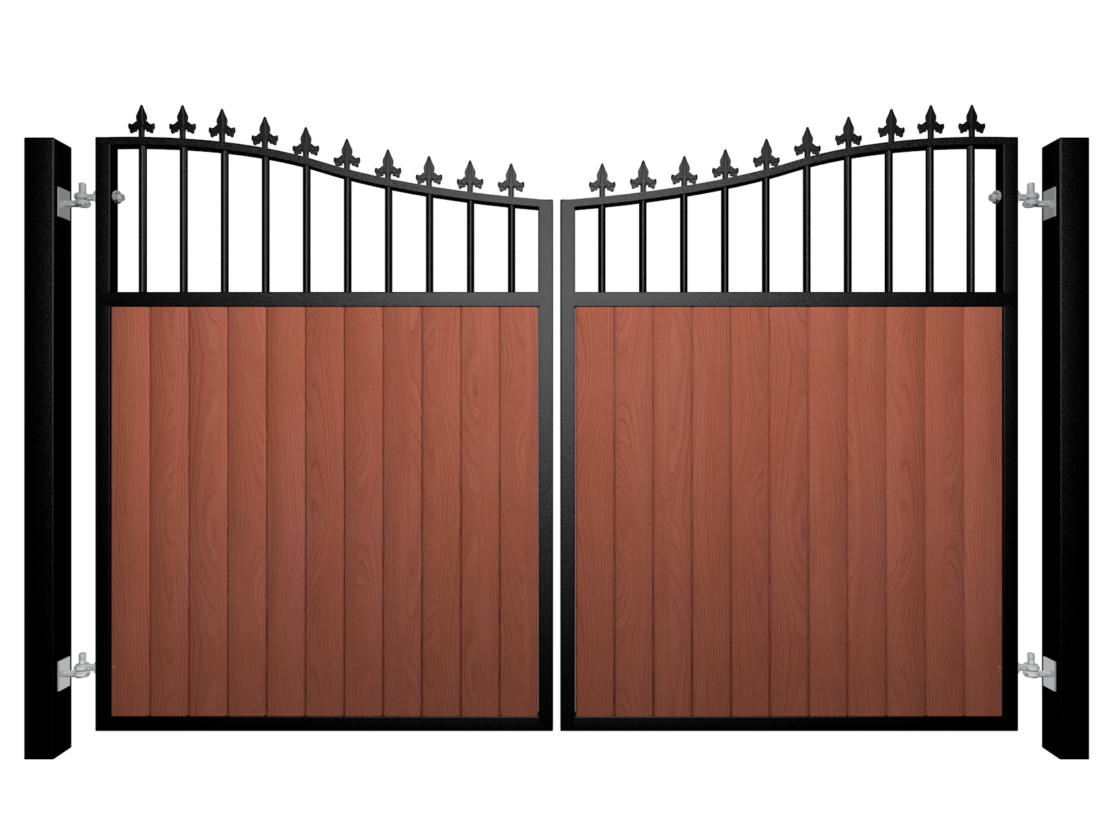 metal framed wood fill bow top automated gate with finials
