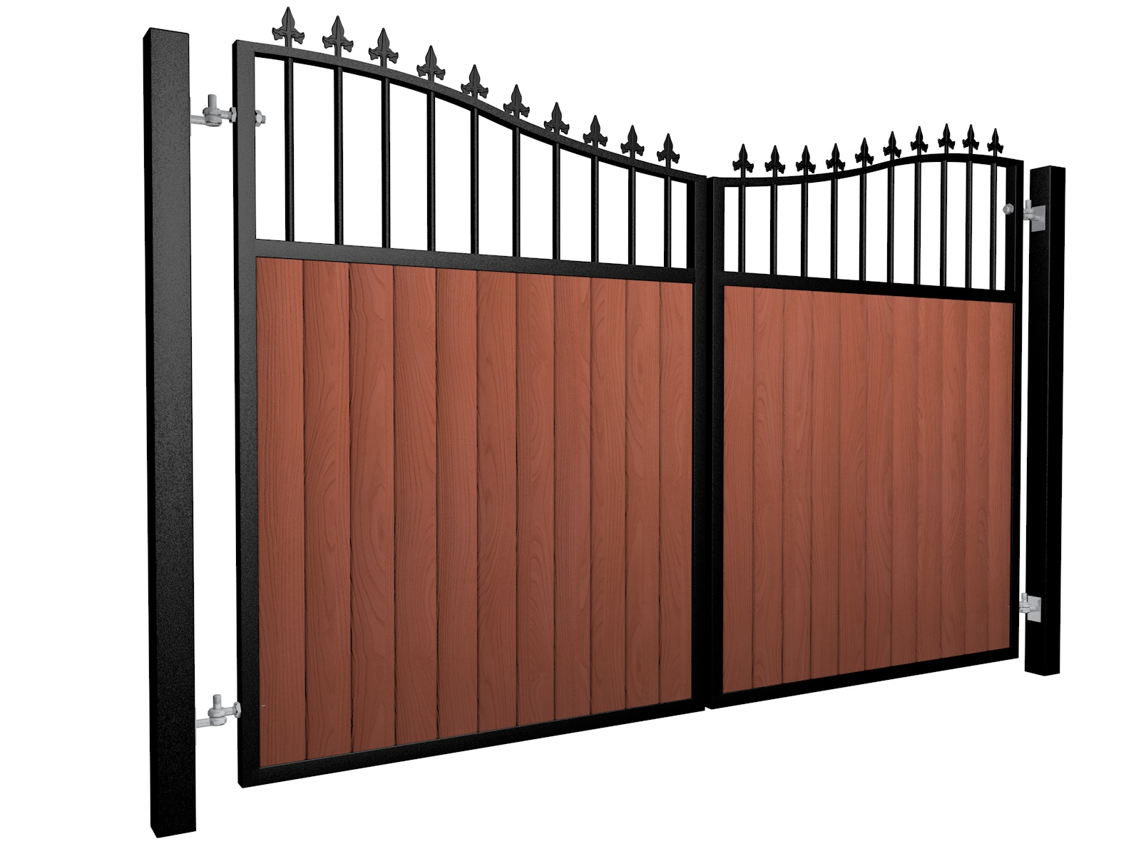 metal framed wood fill bow top automated electric gate with finials