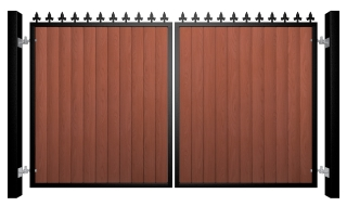 metal framed wood fill flat top automated gate with finials