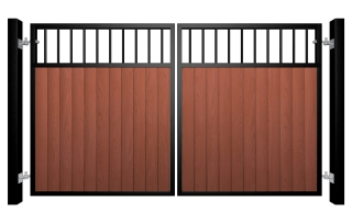 metal framed wood fill flat open top automated gate somerset