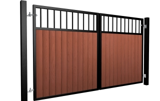 metal framed wood fill flat open top automated driveway gate