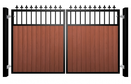 metal framed wood fill flat open top automated electric gate with finials