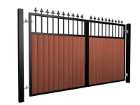 metal framed wood fill flat open top automated gate with finials