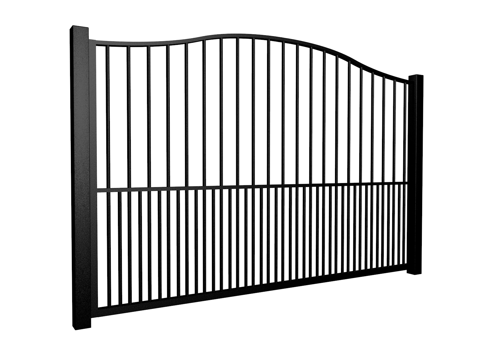 metal traditional style automated gate with bell top dog bars