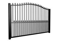 metal traditional style automated gate with bell top finials and dog bars somerset