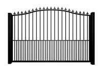 Metal bell top sliding automated gate with finials and dog bars