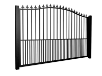 Metal bell top sliding automated driveway gate with finials and dog bars