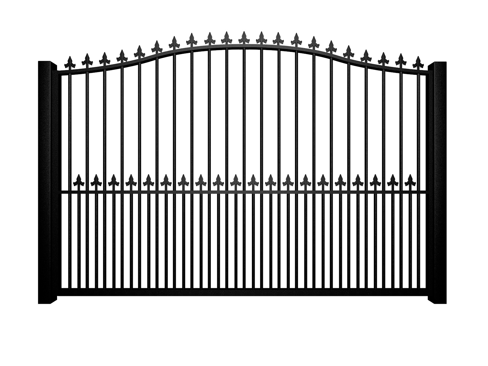 metal traditional style automated gate with bell top finials and dog bars