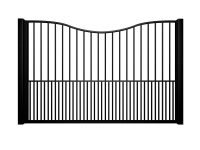 metal traditional style automated gate with bow top and dog bars bristol
