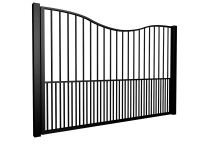 metal traditional style automated gate with bow top and dog bars