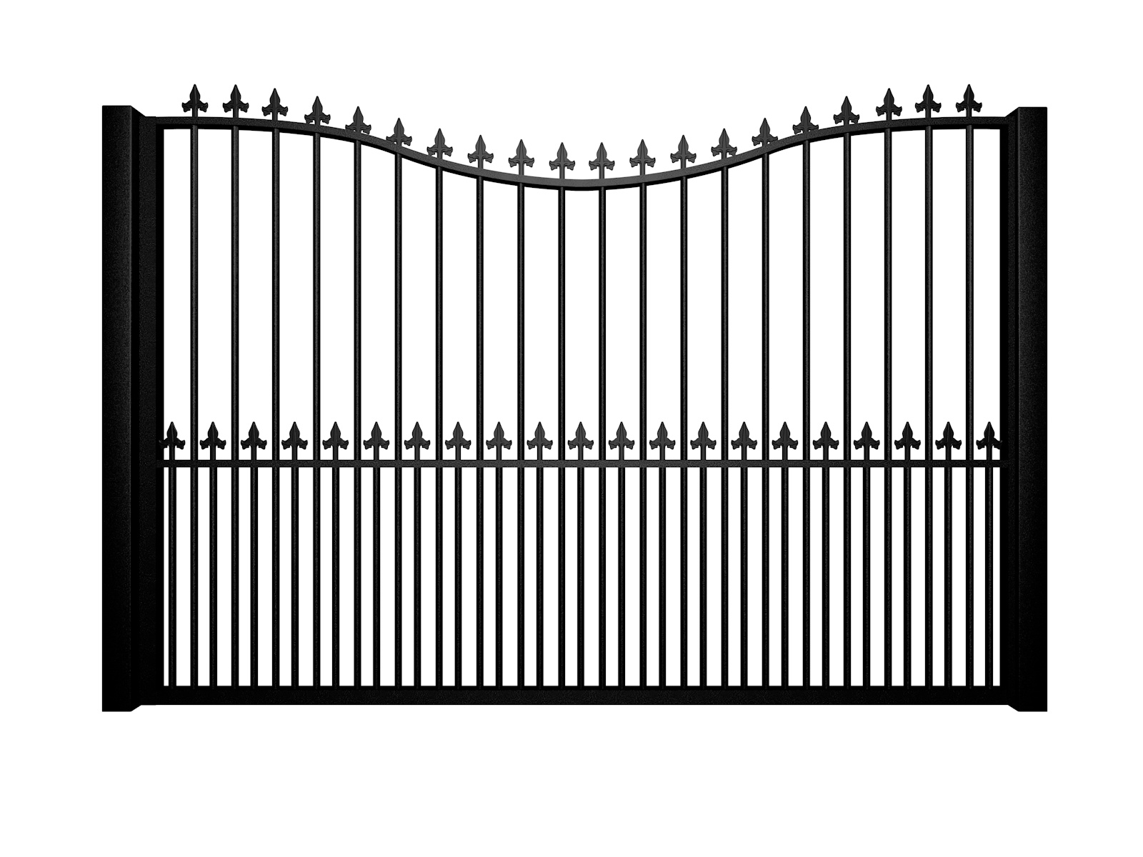 metal traditional style automated gate with bow top finials and dog bars