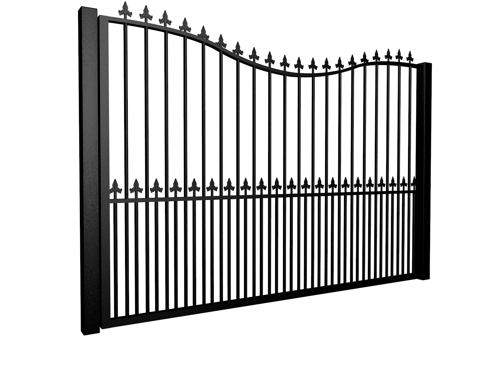 metal traditional style automated driveway gate with bow top finials and dog bars