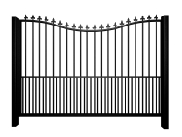 Metal bow top sliding automated gate with finials and dog bars
