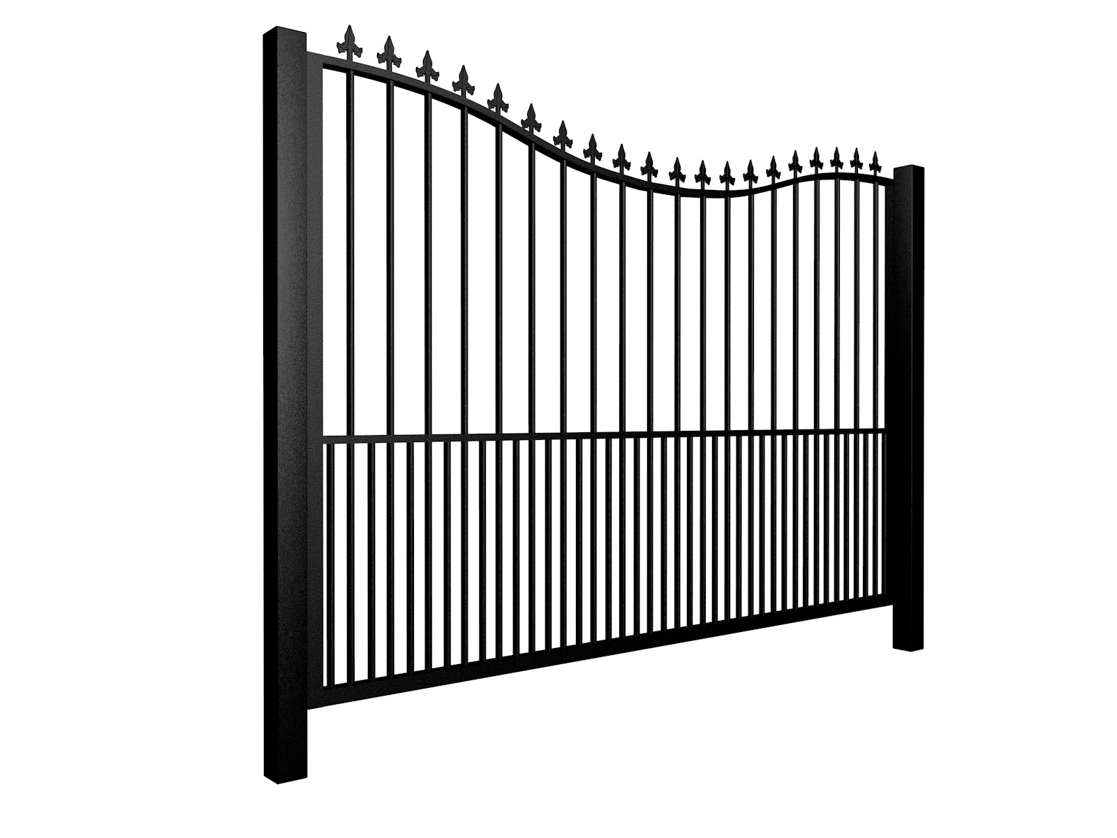 Metal bow top sliding automated driveway gate with finials and dog bars