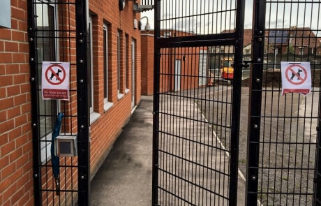 Commercial vertical weld-mesh swinging automated security gate Bristol