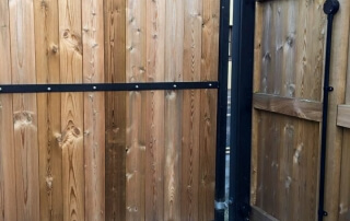 swinging flat top domestic automated wood fill powder coated metal framed gate