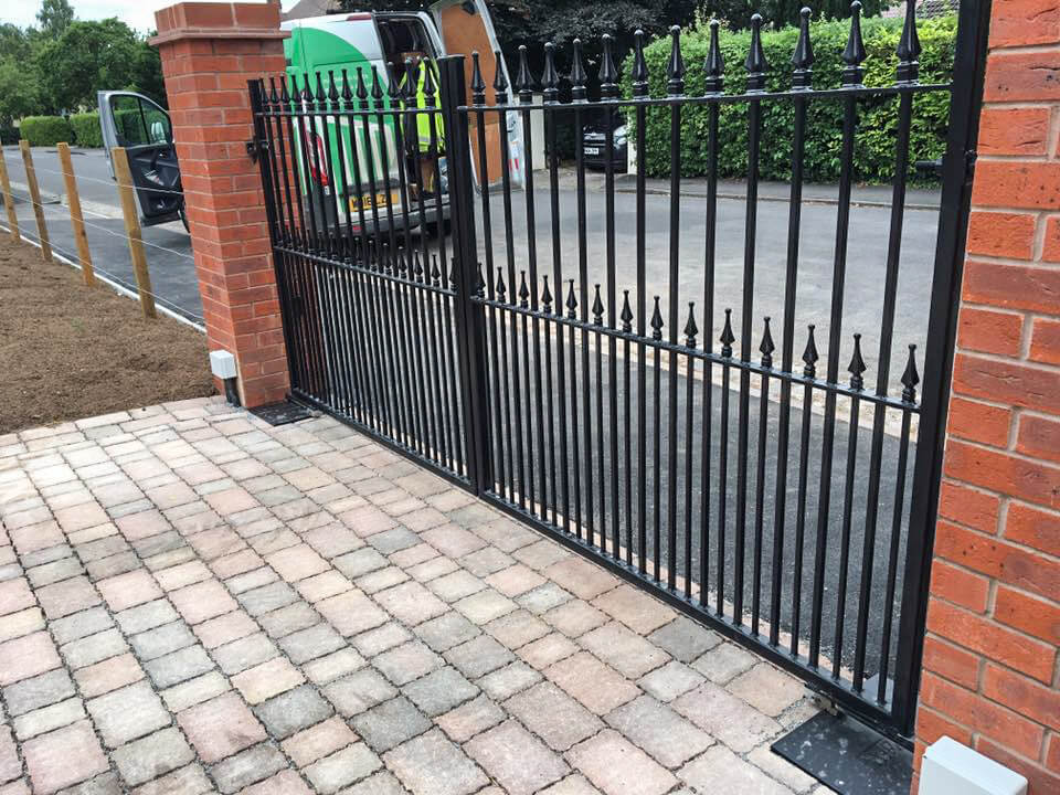 steel swinging straight top metal gates with finials