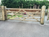 country style swinging five bar electric gate