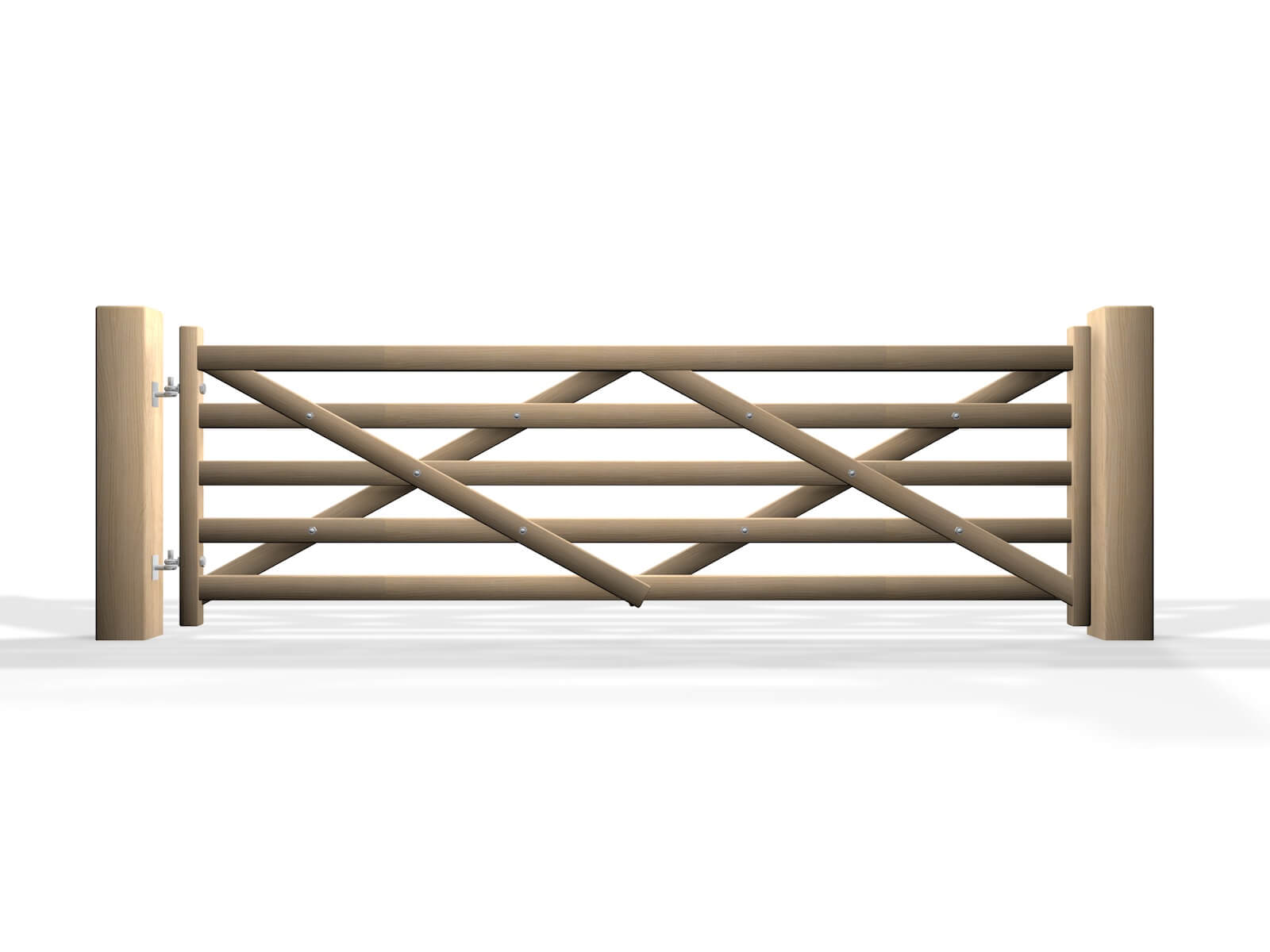 swinging wooden country style five bar automated driveway gate
