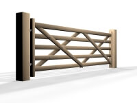 swinging wooden country style five bar automated gate