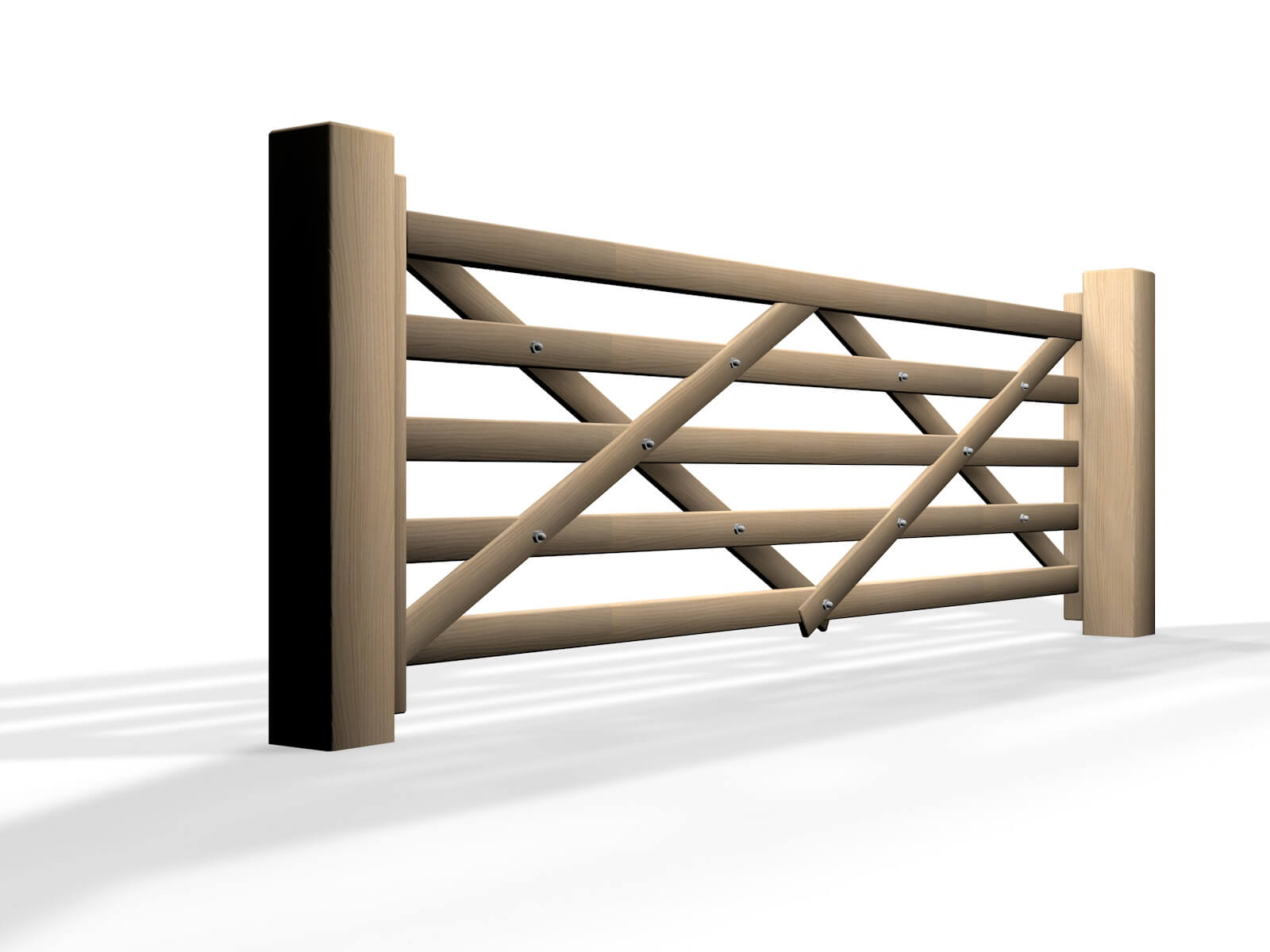 wooden five bar sliding automated gate design