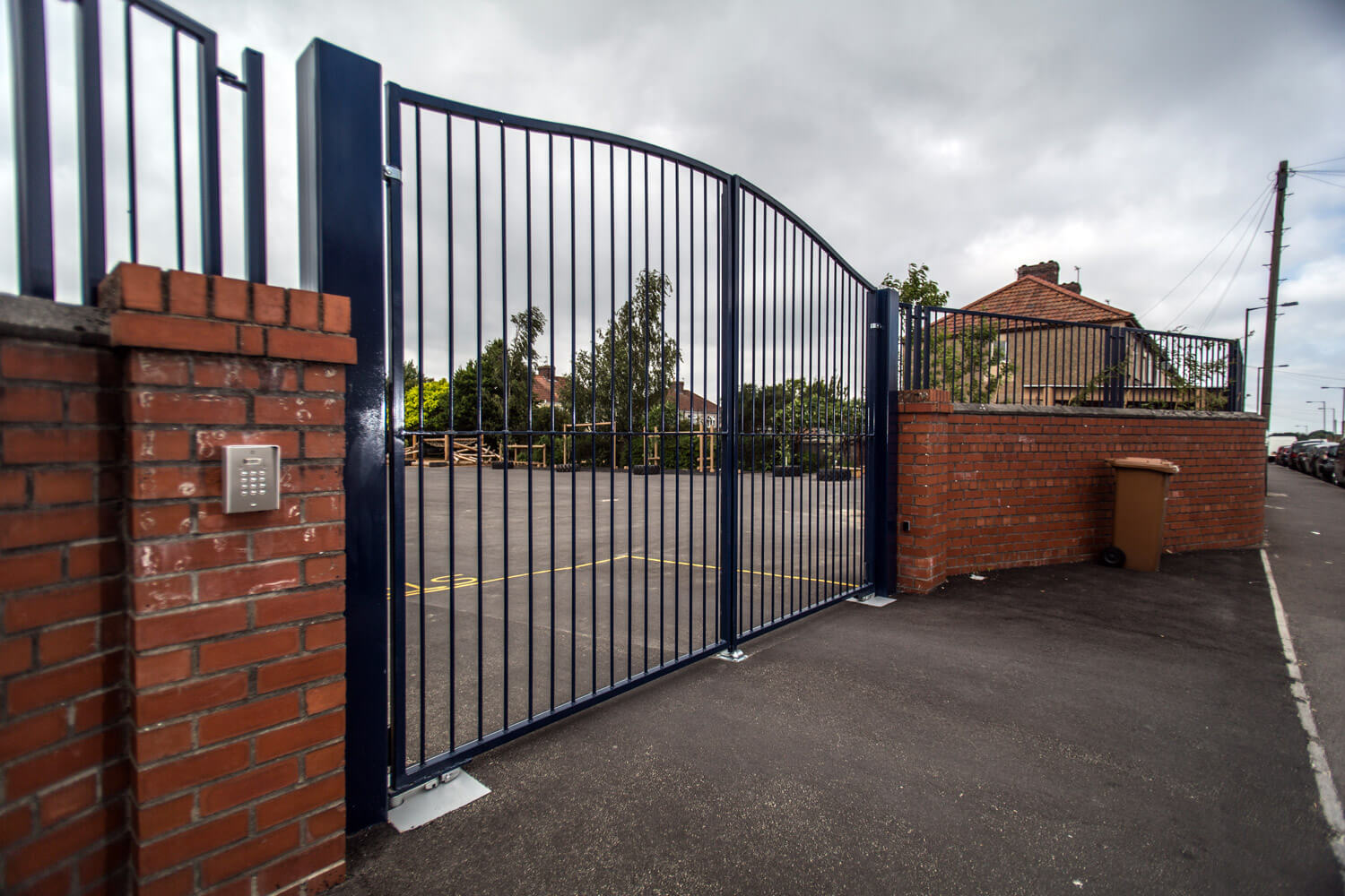 steel commercial school education facility fencing automated gates palisade south west