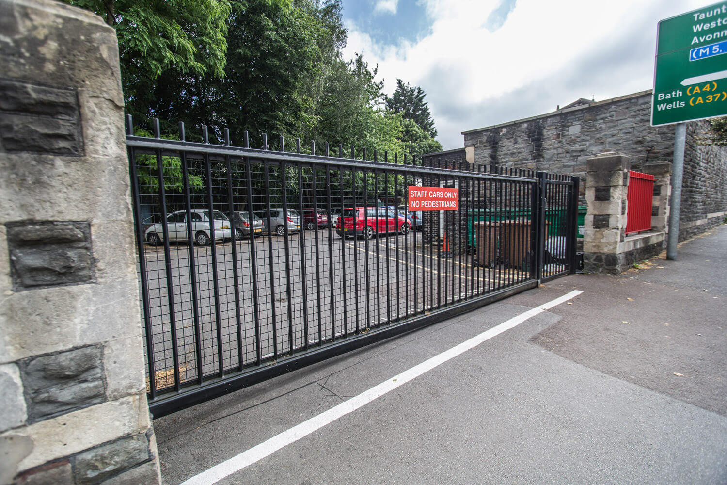 steel commercial school education facility fencing automated gates palisade bristol