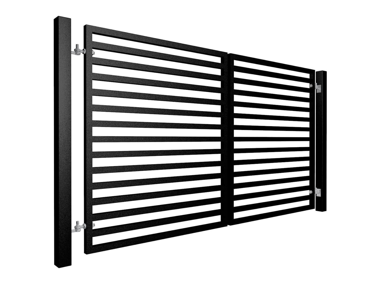 Square section contemporary horizontal swinging metal gate