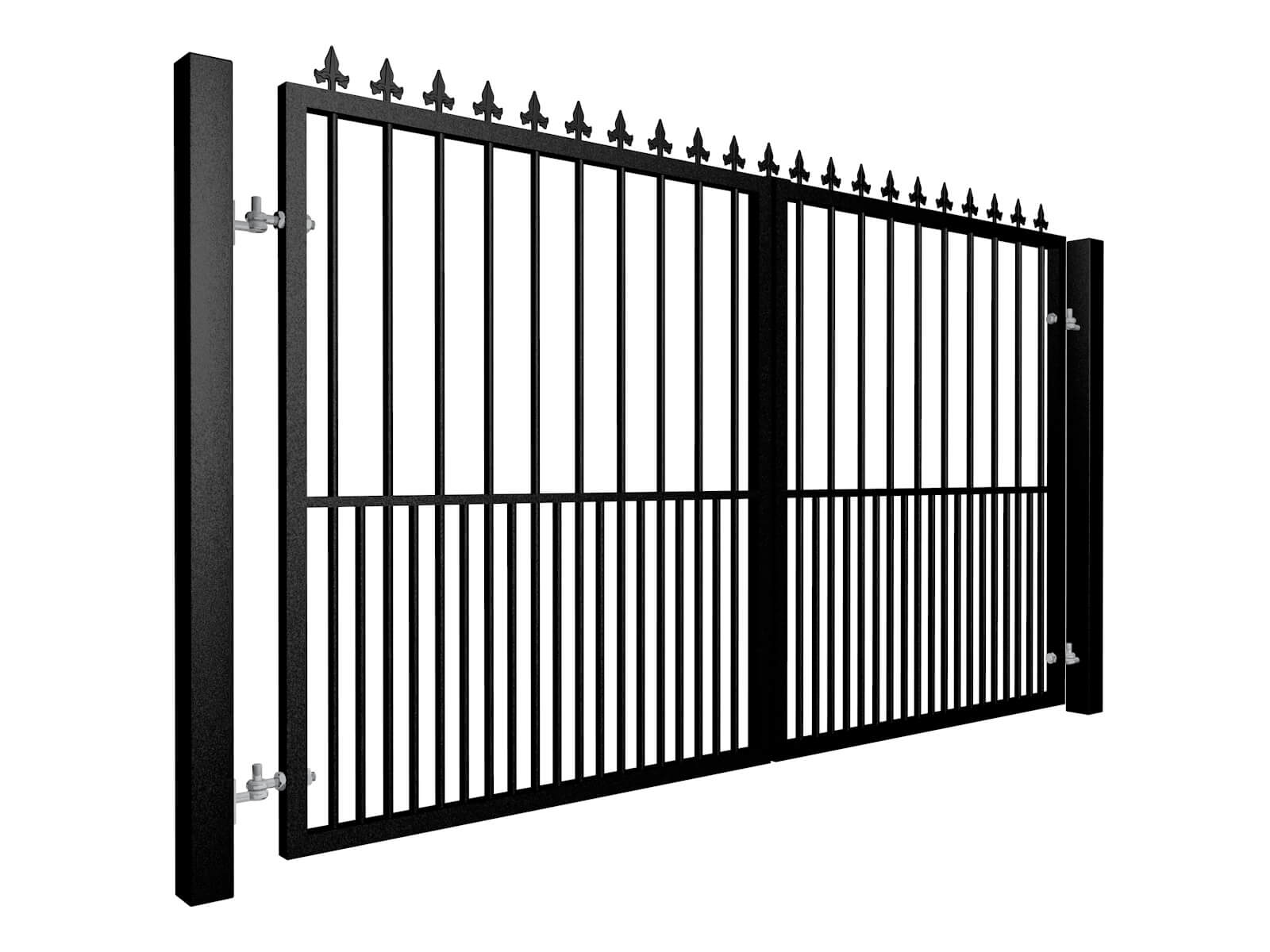 metal swinging gate with dog-bars and top finials