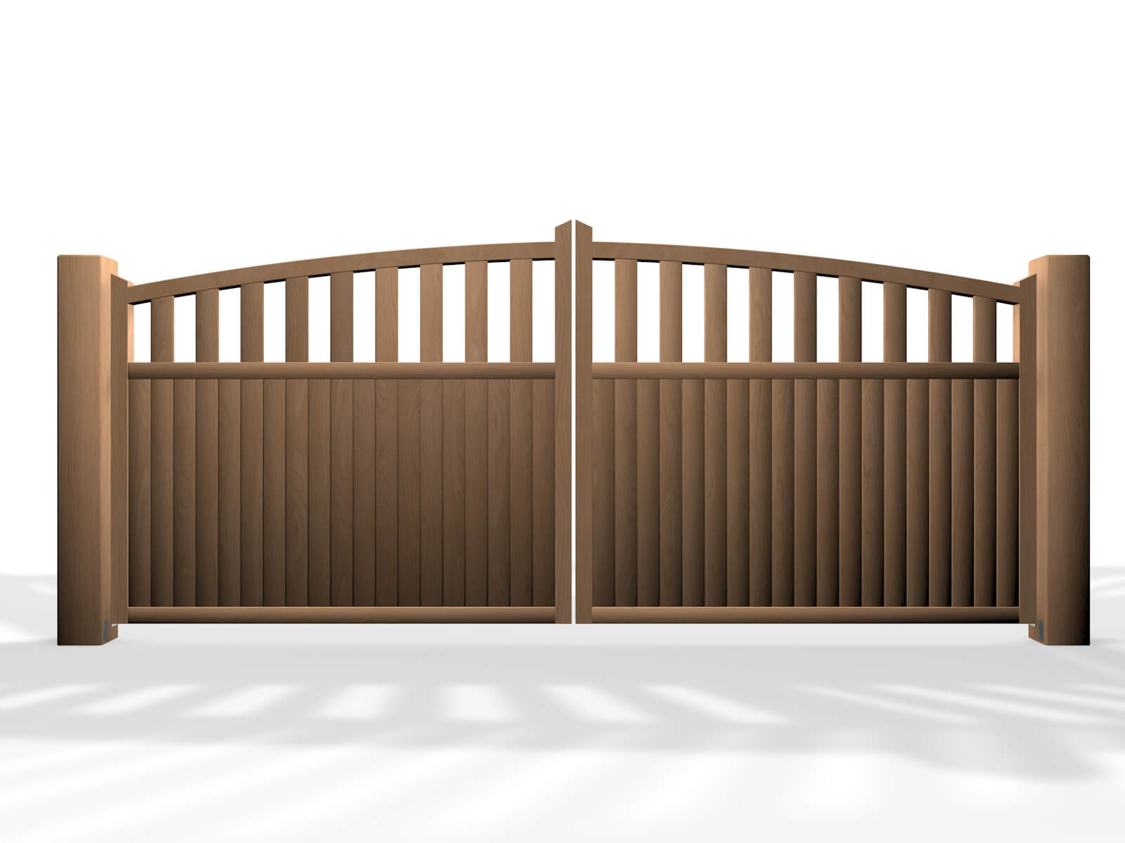 arch top open rail wooden swinging gate
