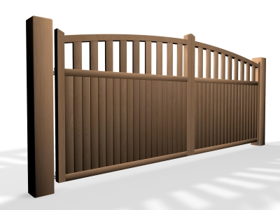 arch top open rail wooden swinging driveway gate