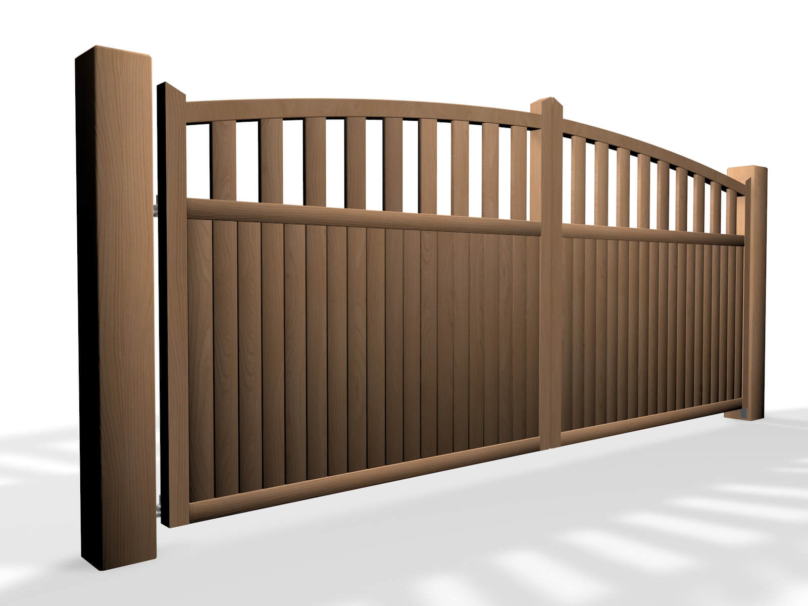 arch top open rail wooden swinging gate bristol
