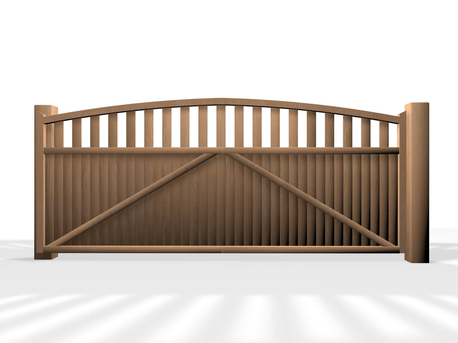 wooden arch open top sliding automated gate