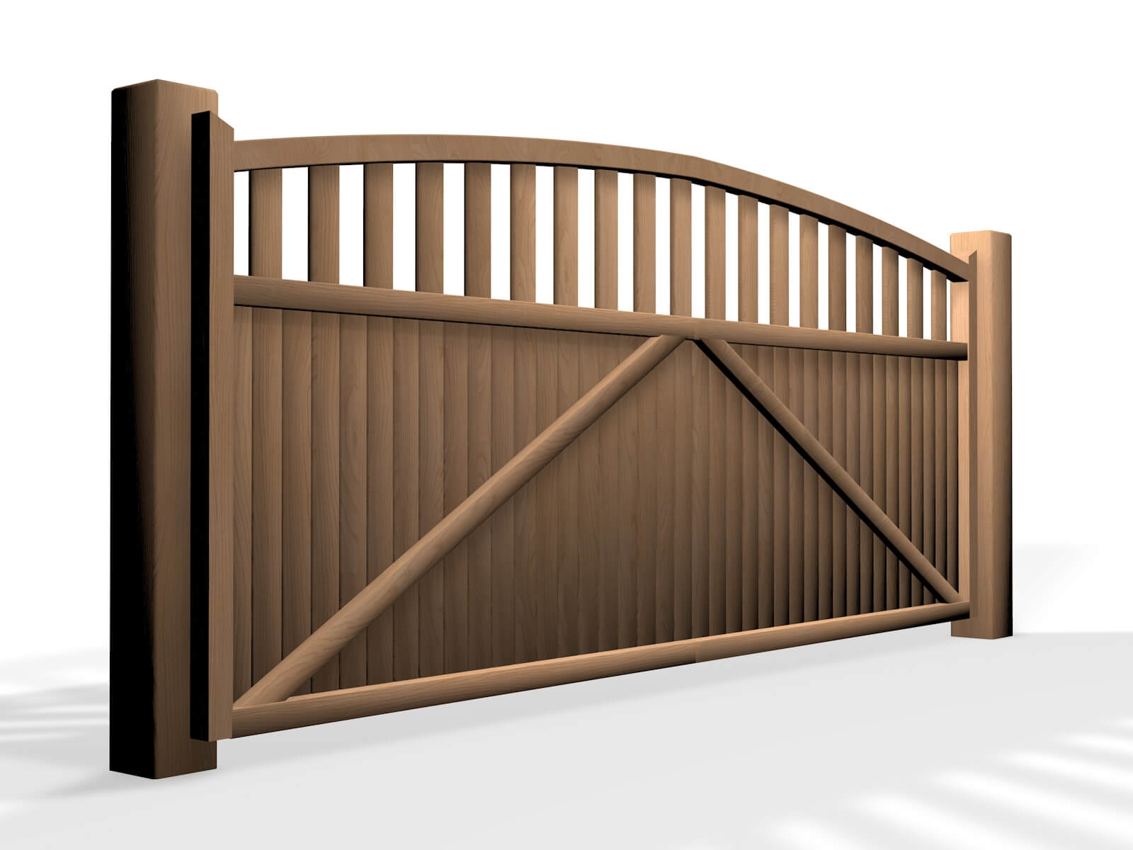 wooden arch open top sliding automated electric gate bristol UK
