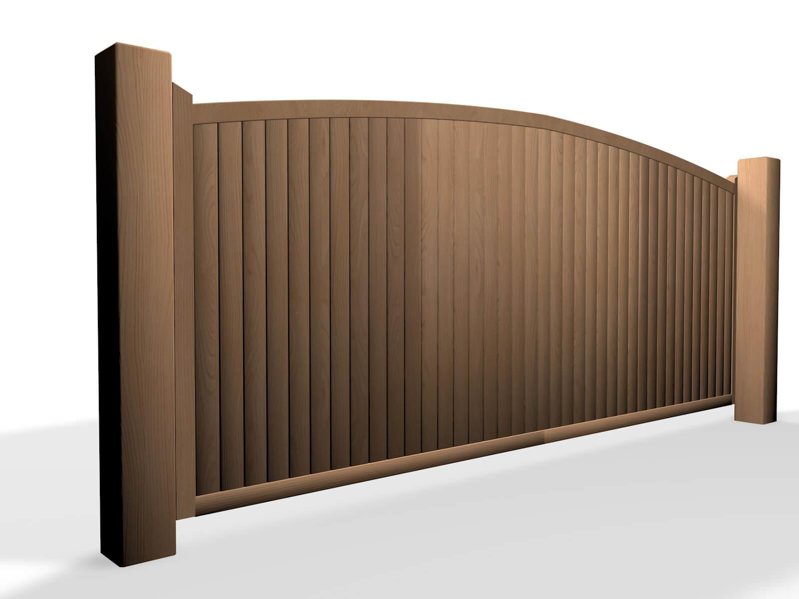 wooden arch top sliding automated gate design Bristol