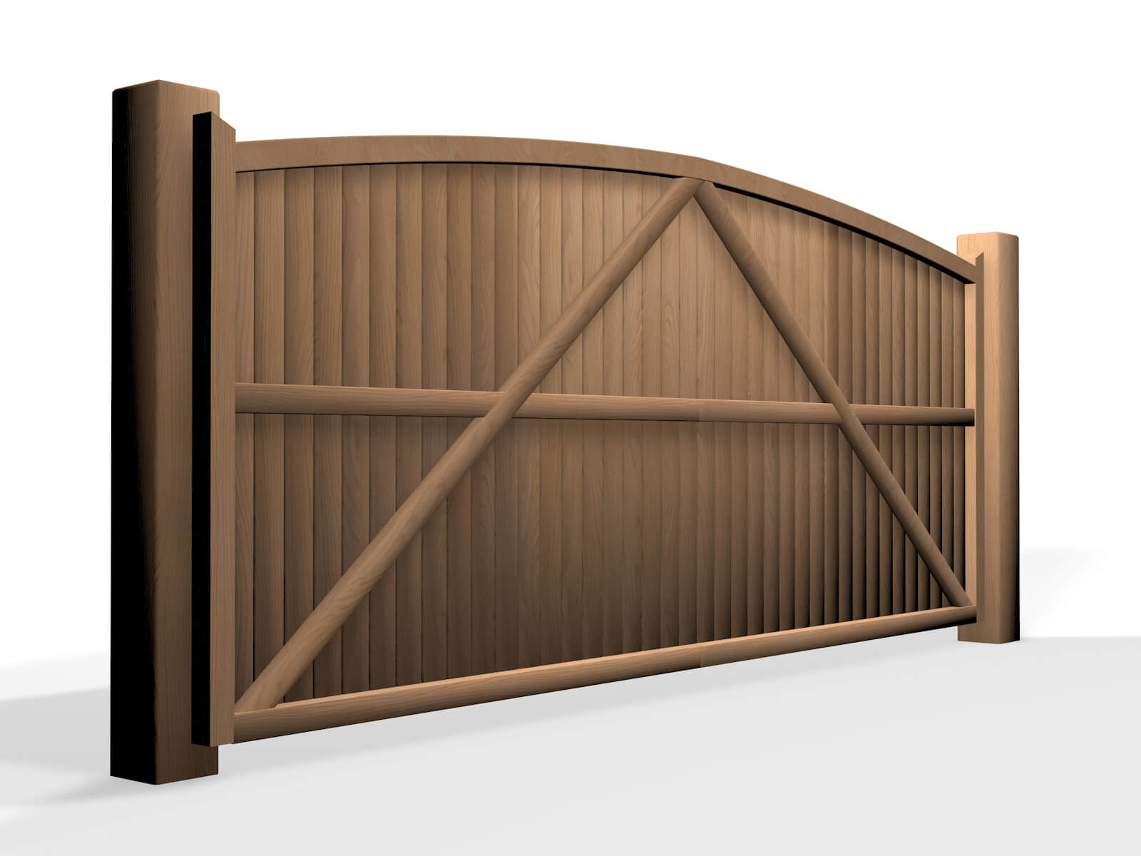 wooden arch top sliding automated gate UK