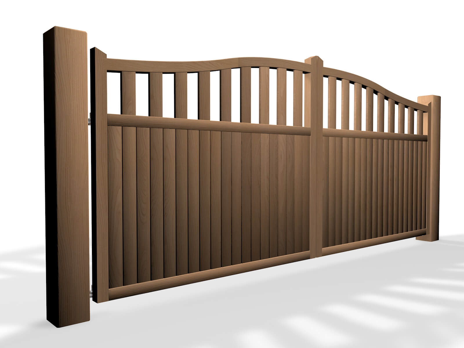 Automated Wooden bell top open-rail driveway gate by Elex Automation