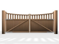 arch bow open rail wooden swinging driveway gate
