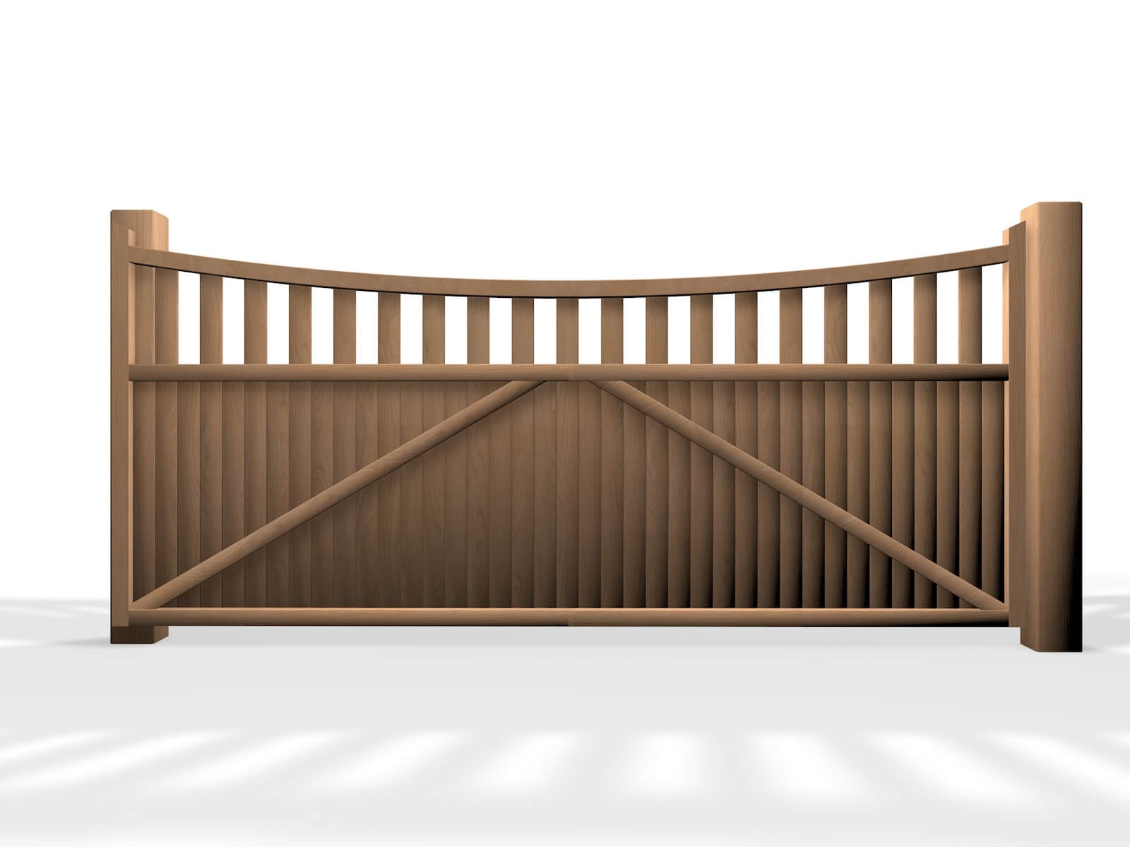 wooden open bow top sliding automated gate