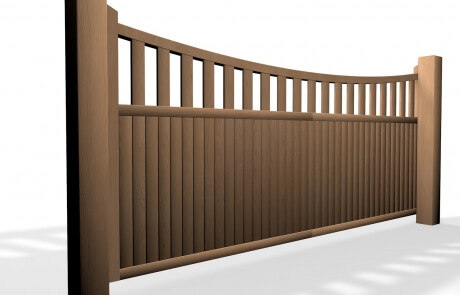 wooden open bow top sliding automated gate bristol