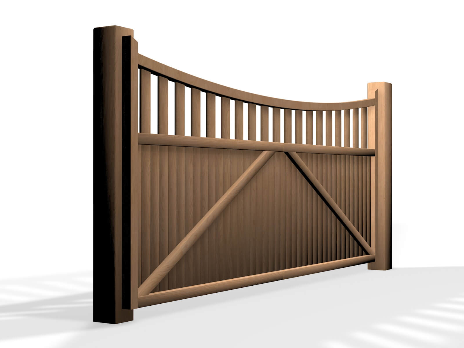 wooden open bow top sliding automated gate bristol company