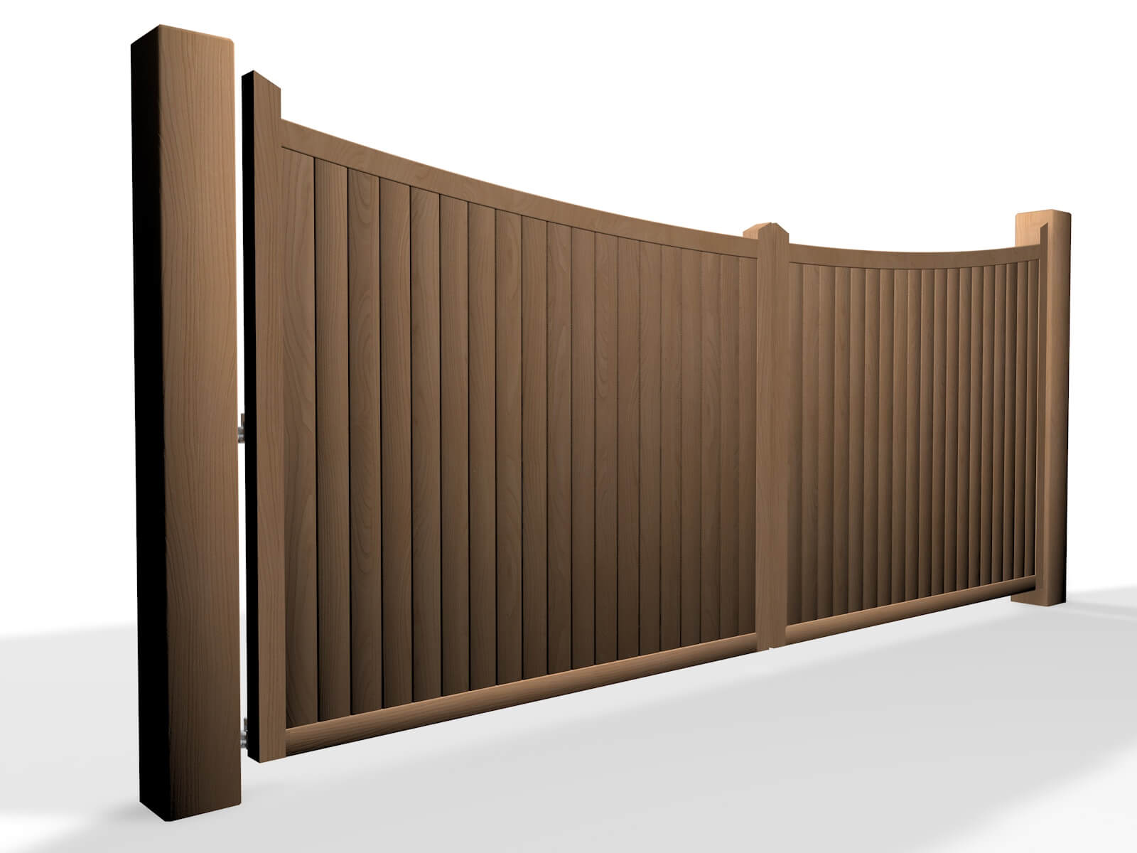 arch bow top wooden swinging gate