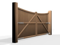 arch bow top wooden swinging driveway gate