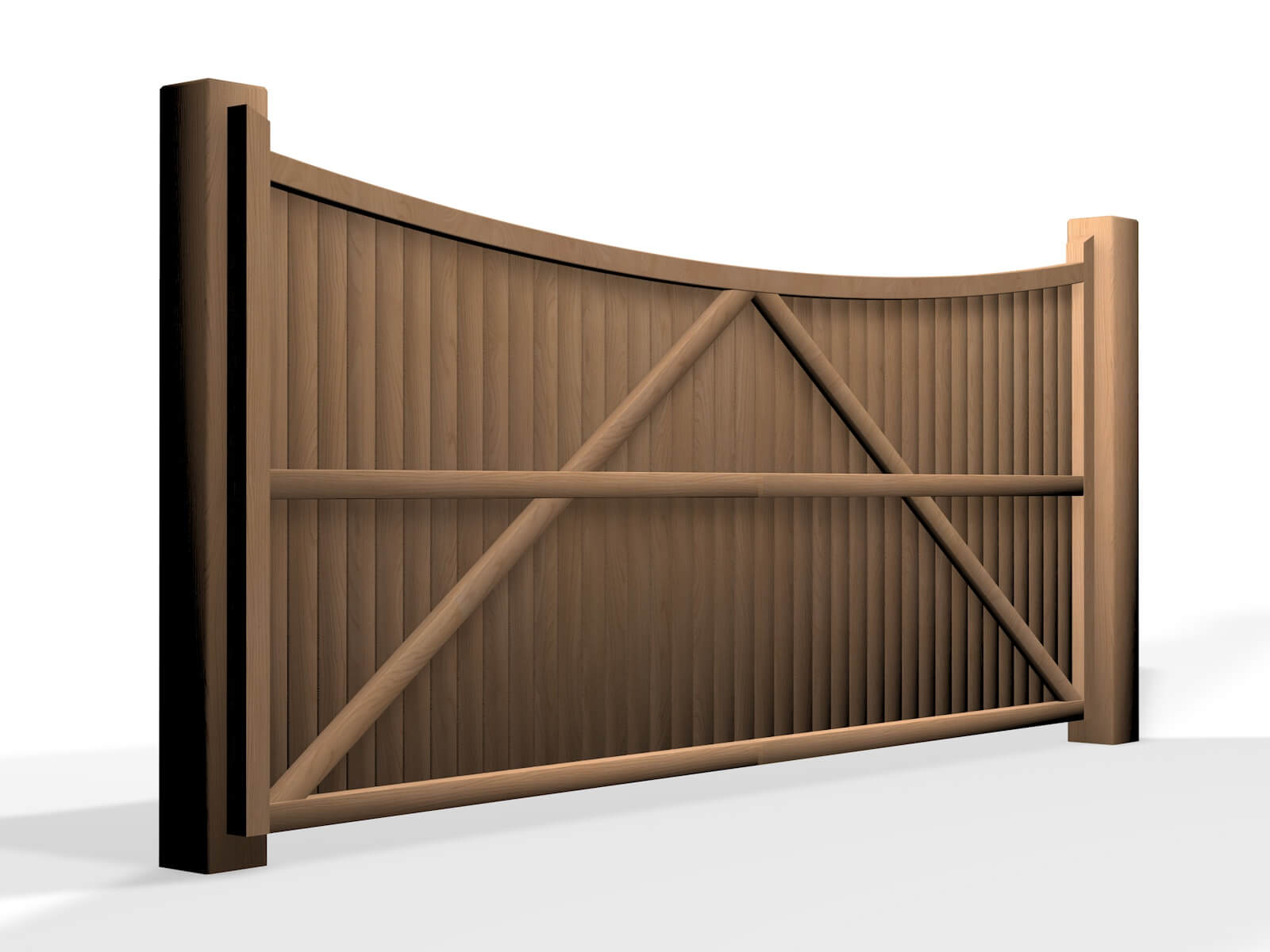 wooden bow top sliding automated gate in bristol UK