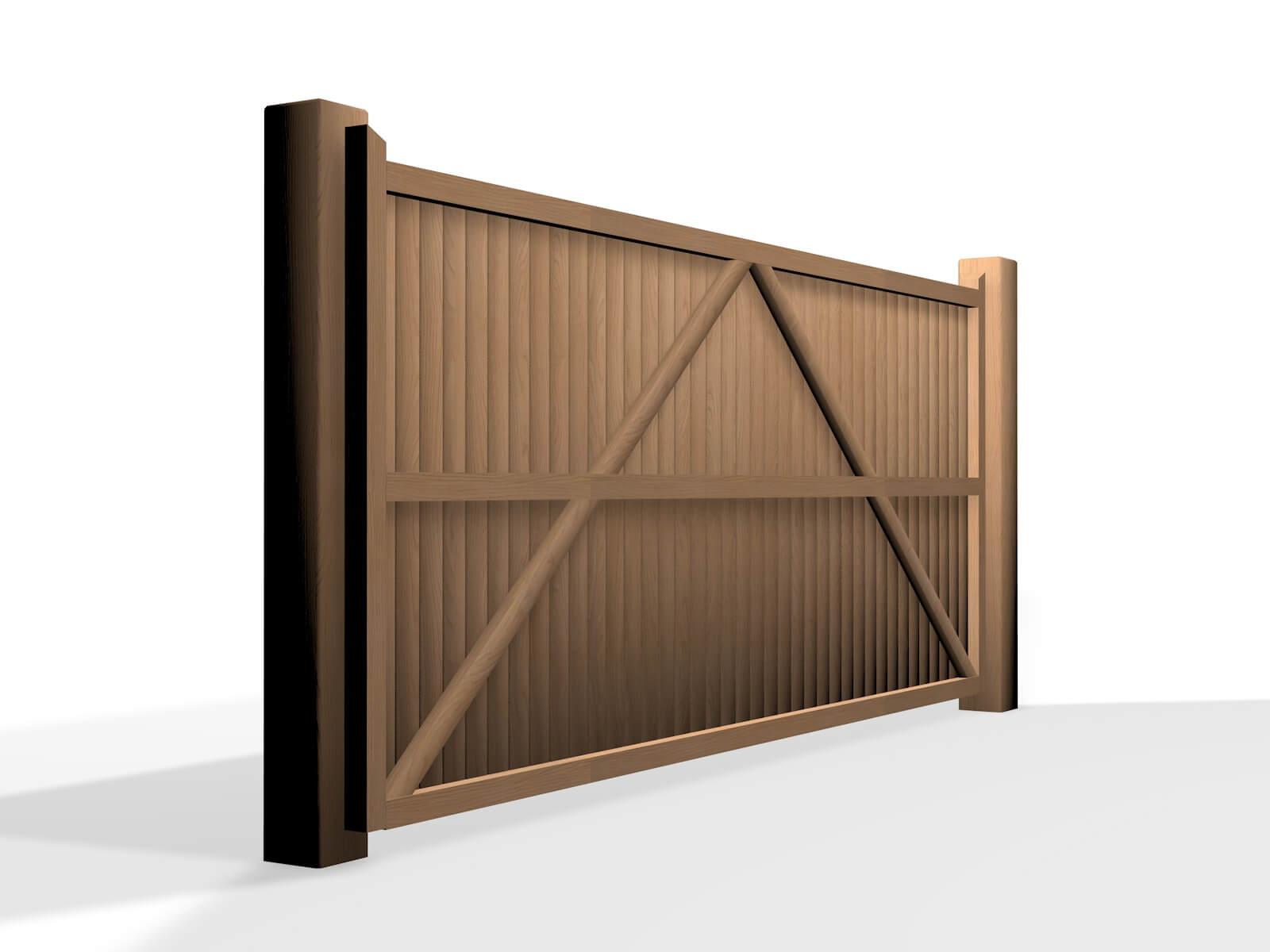 wooden flat top sliding automated gate bristol uk