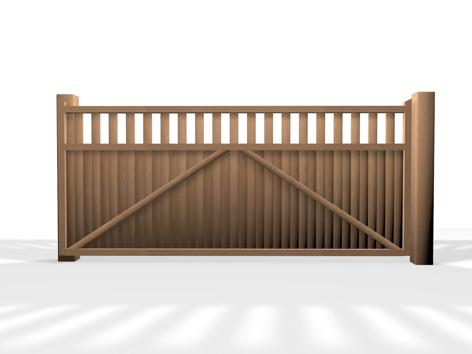 wooden flat top sliding automated driveway gate