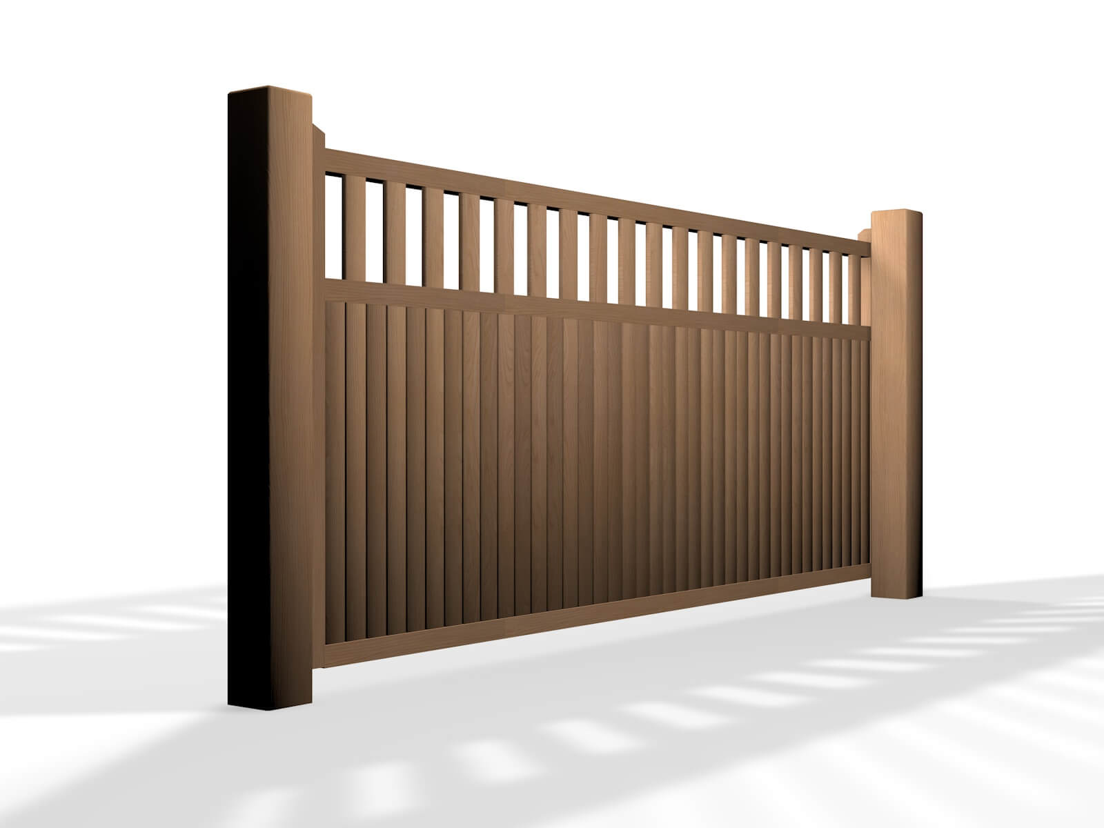 wooden flat open top sliding automated driveway gate