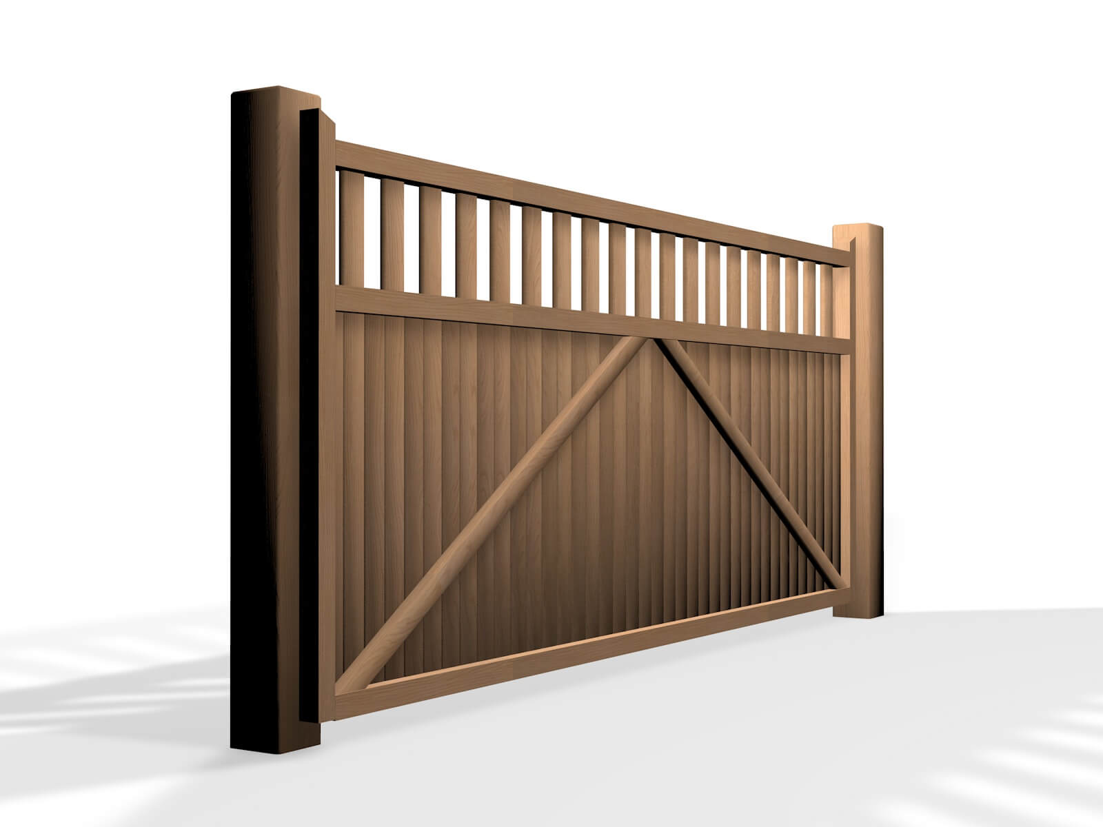 wooden flat open top sliding automated gate