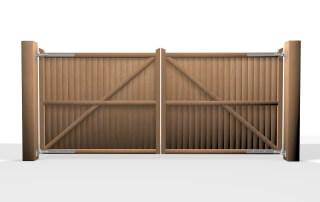 flat top wooden swinging driveway gate