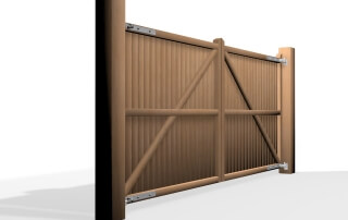 flat top wooden swinging gate